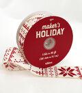 Maker\u0027s Holiday Christmas Ribbon 1.5\u0027\u0027x30\u0027-Red Glitter Nordic Print