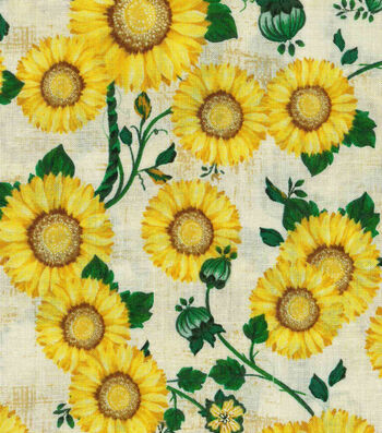 "Harvest Cotton Fabric 43""-Sunflower Patch"