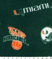 "University of Miami Hurricanes Fleece Fabric 58""-Allover Green, , hi-res"