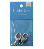 hildie & jo 2 Pack 27mm Silver Decorative Lobster Clasps, , hi-res