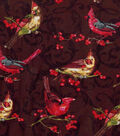 Christmas Cotton Fabric-Cardinals On Berry Twigs