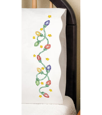 Tobin Stamped Pillowcase Pair For Embroidery Christmas Lights