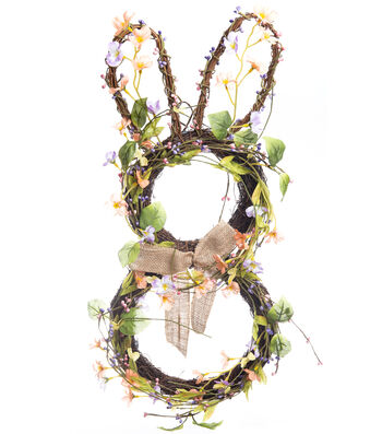 Easter Bunny Wall Decor with Blossoms, Berries & Twig