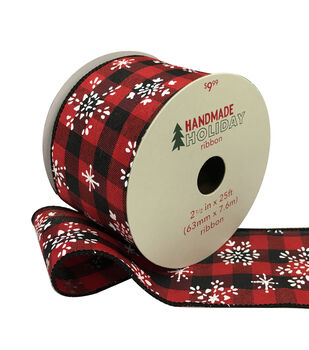 Handmade Holiday Ribbon 2.5''x25'-Snowflakes on Red & Black Checks