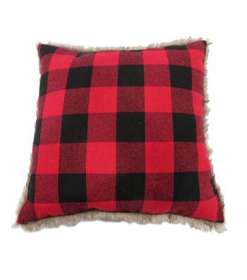 Maker's Holiday Christmas Buffalo Check Pillow-Red & Black