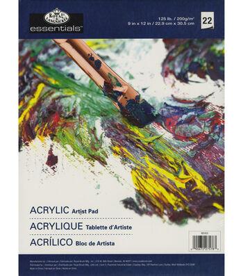 """essentials(TM) Acrylic Artist Paper Pad 9""""X12""""-22 Sheets"""