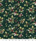 Christmas Cotton Fabric-Poinsettias, Birds & Holly