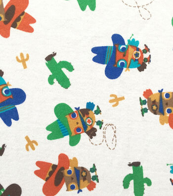 Doodles Juvenile Apparel Fabric 57''-Cowboy Owls Interlock