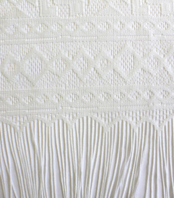 Earth Child Apparel Lace Panel Fabric With Fringe -White