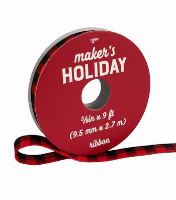 Maker's Holiday Christmas Ribbon 3/8''x9'-Red & Black Buffalo Checks