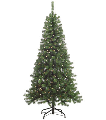 Splendor Pine Tree on Metal Stand with Clear Lights 6.5'