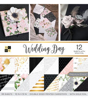 DCWV 36 Pack 12''x12'' Premium Stack Printed Cardstock-Wedding Day, , hi-res
