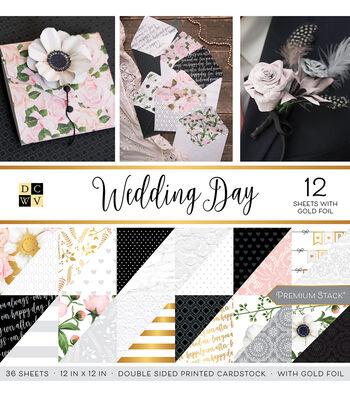 DCWV 36 Pack 12''x12'' Premium Stack Printed Cardstock-Wedding Day