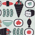 Snuggle Flannel Fabric -Happy Sushi