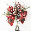 Handmade Holiday Christmas Alpine Lodge Bow Tree Topper-Tartan