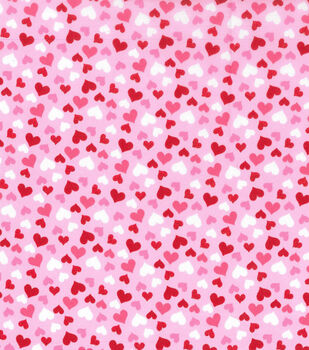 Valentine's Day Cotton Fabric-Glitter Hearts on Pink