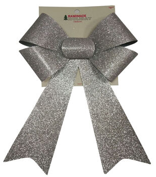 Handmade Holiday Christmas 9''x16.25'' Glitter Bow-Silver