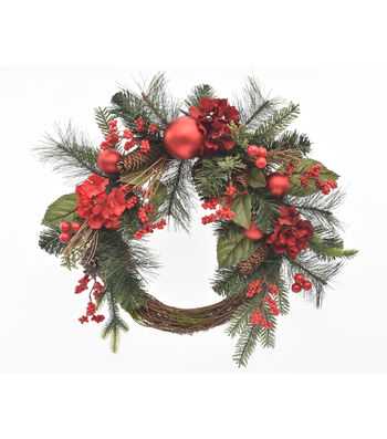 Blooming Holiday Christmas 22'' Hydrangea, Berry & Pinecone Wreath-Red