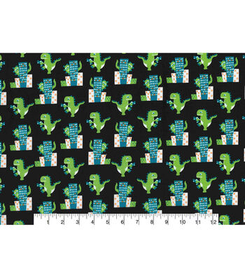 """Novelty Cotton Fabric 43""""-Dinosaur in the City"""