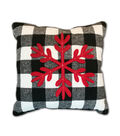 Maker\u0027s Holiday Christmas Pillow-Snowflake on Black & White Checks