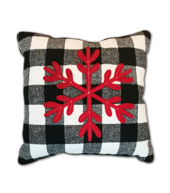 Maker's Holiday Christmas Pillow-Snowflake on Black & White Checks