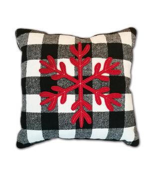 makers holiday christmas pillow snowflake on black white checks