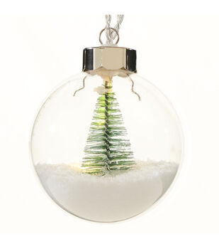 Handmade Holiday Christmas LED Globe Ornament with Tree & Snow