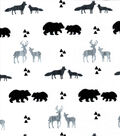 Nursery Flannel Fabric-Black & Gray Animals Inline