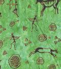 Ethnic Foil Cotton Fabric-Green Figures