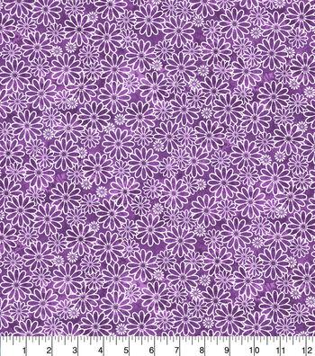 Keepsake Calico Cotton Fabric-Sundrenched Daisies Purple