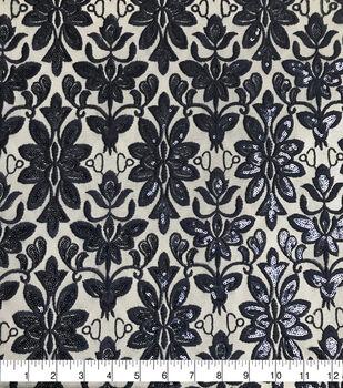 Sew Sweet Mesh Fabric-Damask on Patriot Blue