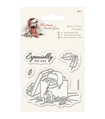 Docrafts Wellington Christmas Mini Clear Stamps-Present