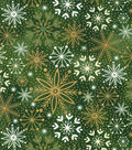 Christmas Cotton Fabric-Green & Foiled Snowflakes