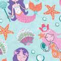 Snuggle Flannel Fabric -Pretty Mermaids