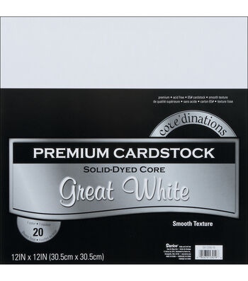 "Core'dinations Value Pack Cardstock 12""X12"" 20/Pkg-Great White-Smooth"