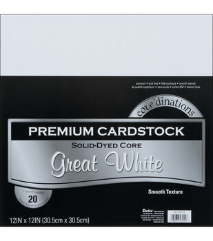 """Core'dinations Value Pack Cardstock 12""""X12"""" 20/Pkg-Great White-Smooth"""