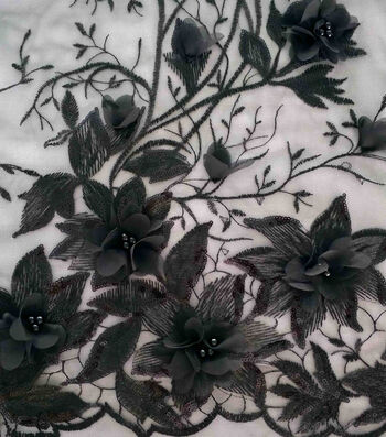 Casa Embellish 3D Fabric with Pearls 55''-Black Floral