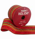 Maker\u0027s Holiday Christmas Ribbon 2.5\u0027\u0027x25\u0027-Red & Green Glitter Stripes