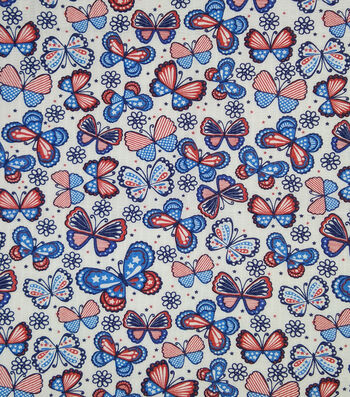Doodles Textured Fabric 43''-Red, White & Blue American Butterflies