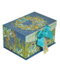 Maker\u0027s Holiday Christmas Small Fliptop Storage Box-Peacock