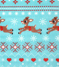 Christmas Rudolph the Red Nosed Reindeer Fleece Fabric-Fair Isle