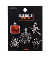 hildie & jo Halloween Jewelry 5 pk Metal Charms-Black, , hi-res