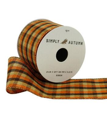 Simply Autumn Ribbon 2.5''x12'-Orange & Brown Fall Plaid