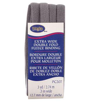 Wrights Extra Wide Double Fold Fleece Binding 1/2''x3 yds-Heather
