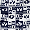 Brigham Young University Cougars Cotton Fabric -Block