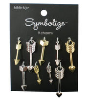 hildie & jo Symbolize 9 Pack Arrow Gold & Silver Charms, , hi-res