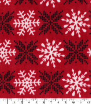 Christmas Anti-Pill Plush Fleece Fabric-Snowflakes on Red