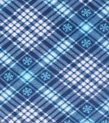 "Anti-Pill Fleece Fabric 61""-Blue Plaid Snowflake"
