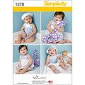 Simplicity Pattern 1378A Infants\u0027 Outfits-Size XS-L