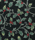 Christmas Cotton Fabric-Holly & Berries on Black